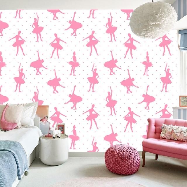 Tuya Art Pink Dancing Girls Mural Wallpaper For Kids Room Wall Background Wallpapers