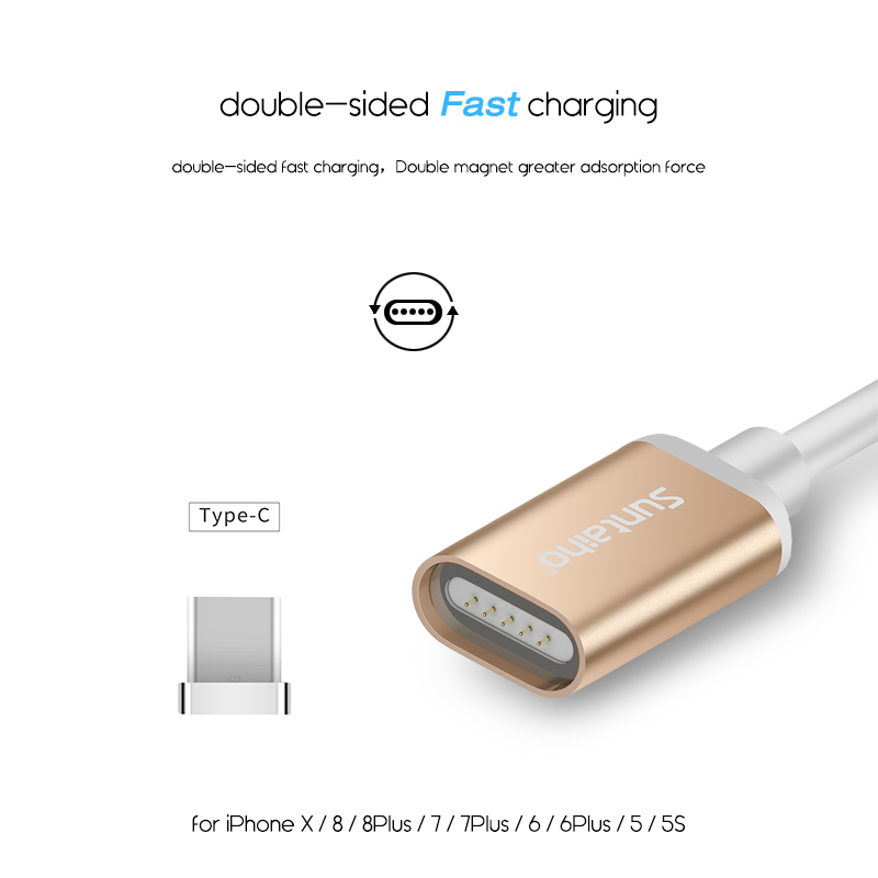 Suntaiho Magnetic Micro USB Cable 2.1A Fast Charging PET 3IN1 For Samsung S9 plus A8 2018 LED Indicator Micro USB Type c Cable