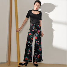5623070a55 Summer women's high waist printing wide leg pants national wind ice silk  loose trousers Elastic Waist