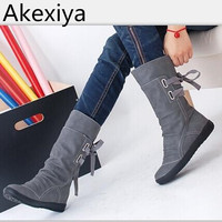 Women Winter Snow Boots Mid Calf Solid Flat With Winter PU Boots Warm Fur Inside Ladies