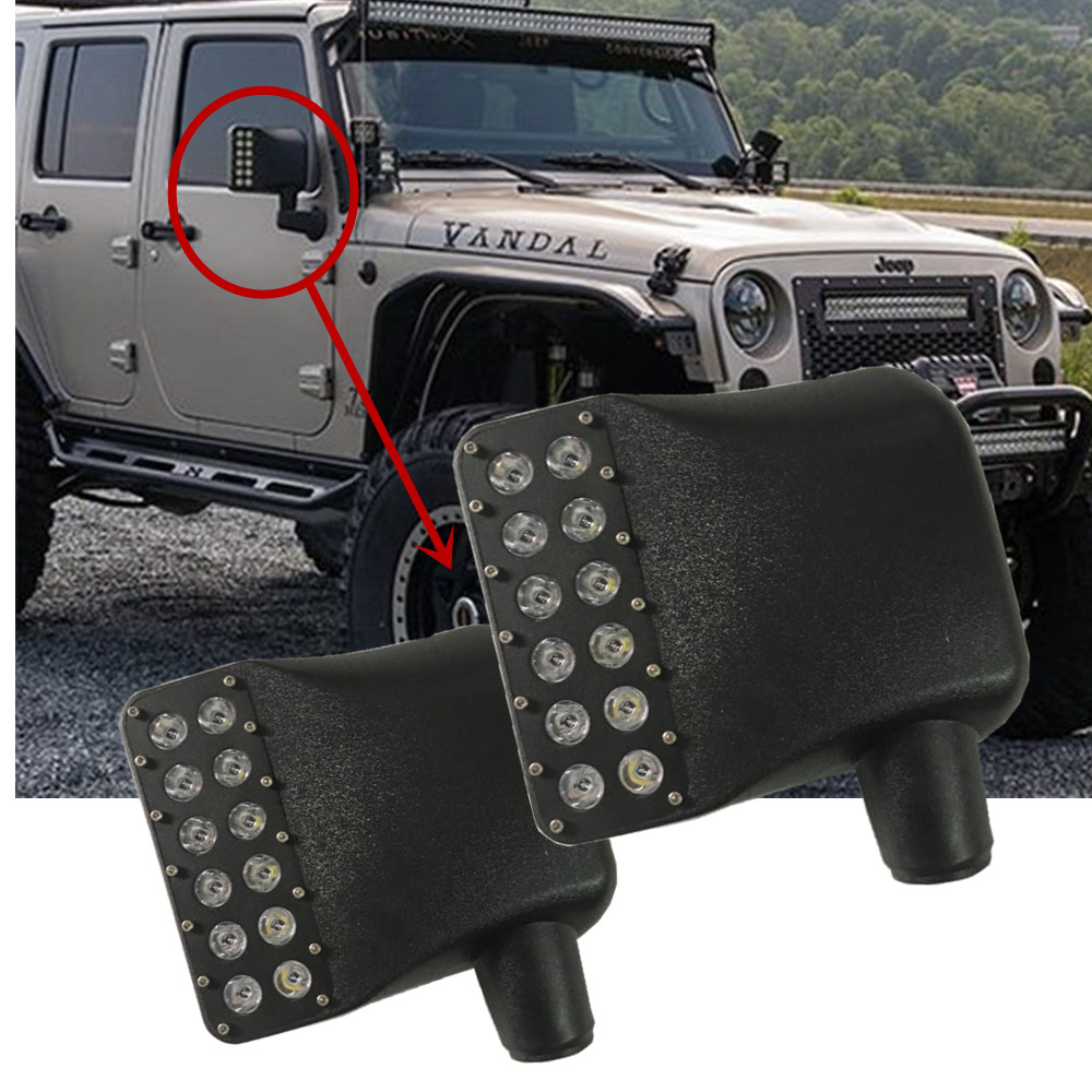 left + Right Side Mirror Covers w/ White Spot Lights & Amber Turn Signals For 2007 - 2016 Jeep Wrangler JK JKU