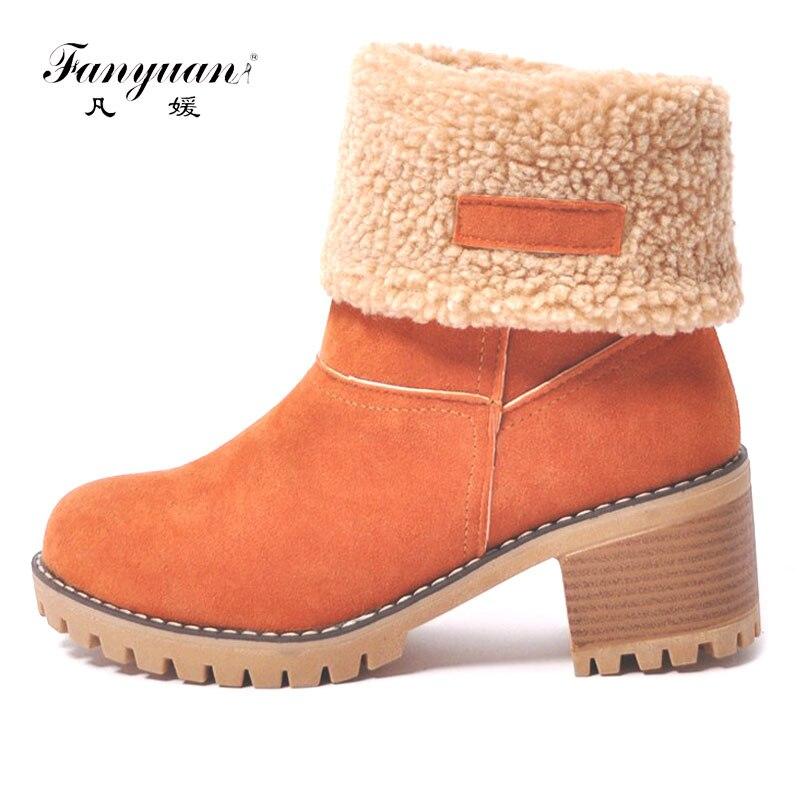 Botas de nieve de mujer Fanyuan botas de tobillo impermeables de plataforma de fondo grueso para mujer botas cálidas de invierno de piel gruesa tamaño 34-43