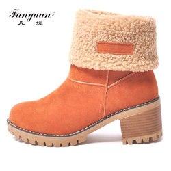 Fanyuan Mulheres Botas de Neve Plataforma À Prova D' Água de Fundo Grosso Ankle Boots Para Mulheres de Inverno de Espessura da pele Quente Botas Quentes tamanho 34-43