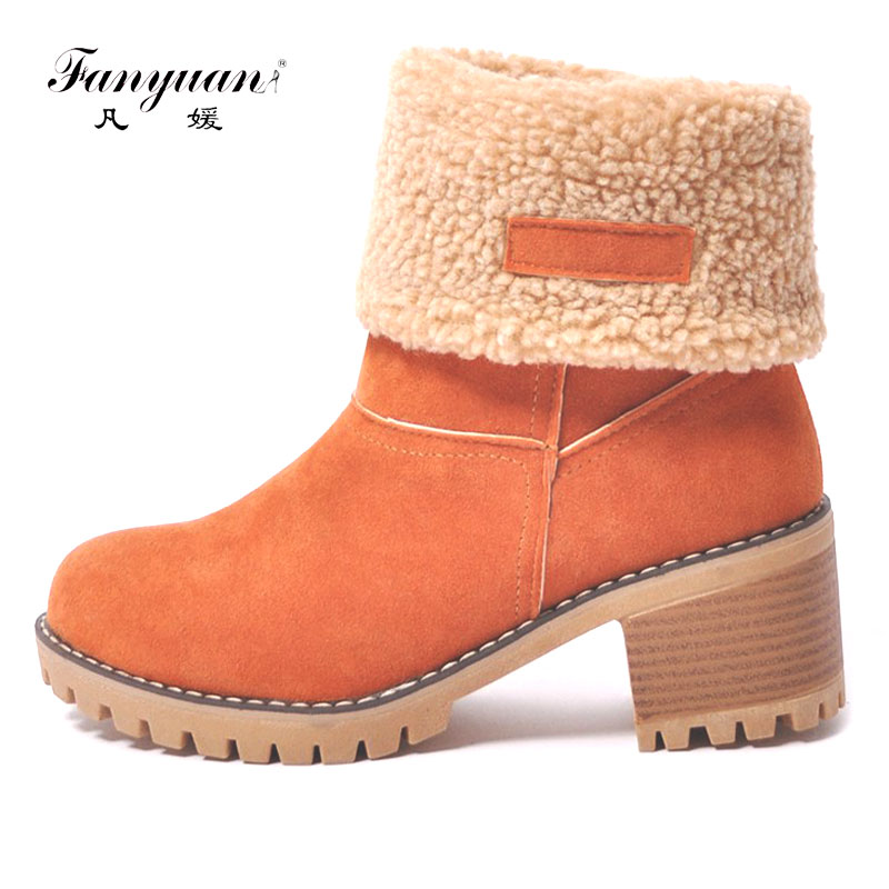 Fanyuan Women Snow Boots Thick Bottom Platform Waterproof Ankle Boots For Women Thick Warm fur Winter