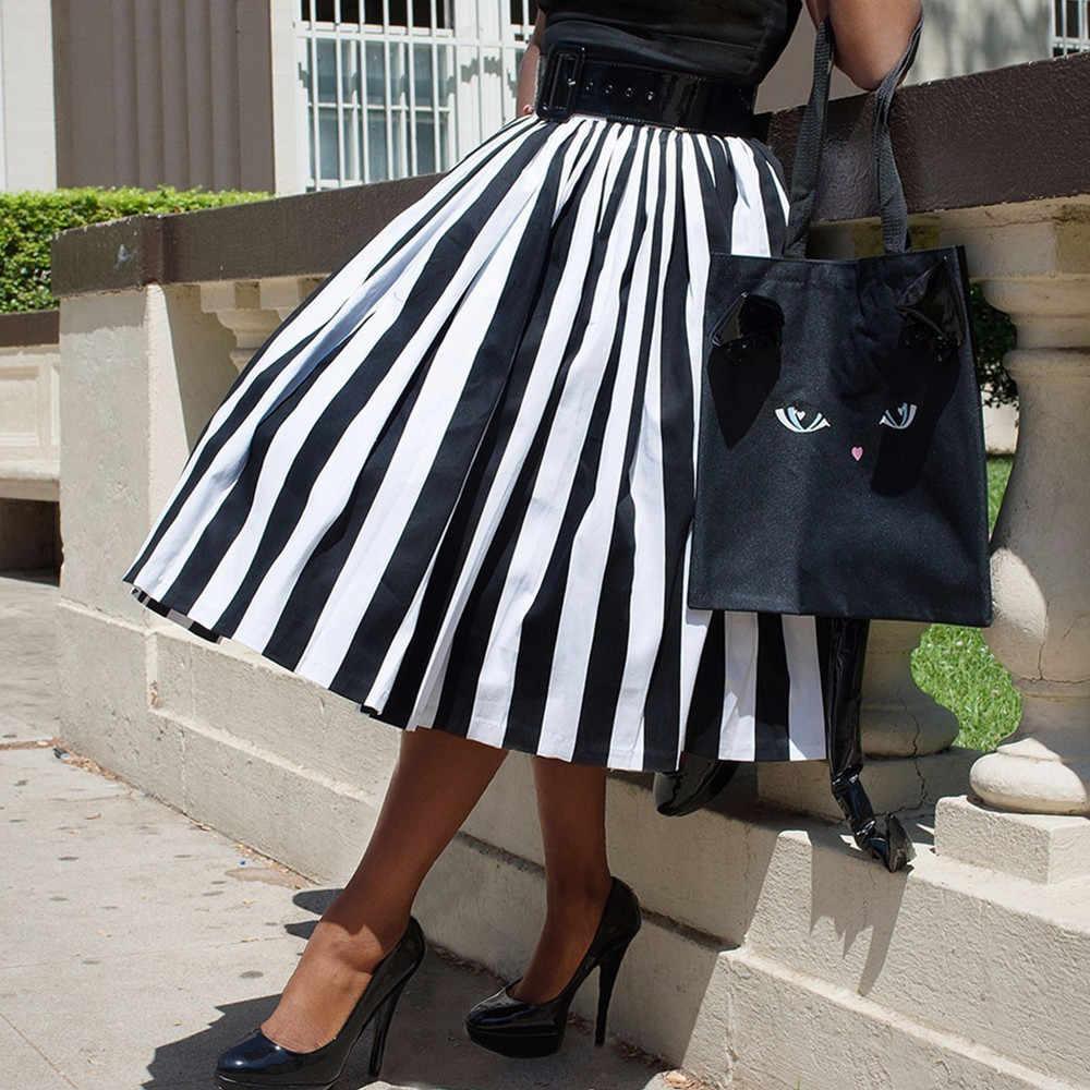 176e417cc ... 30- women vintage 50s swing midi skirts in black white striped plus  size saia rockabilly ...