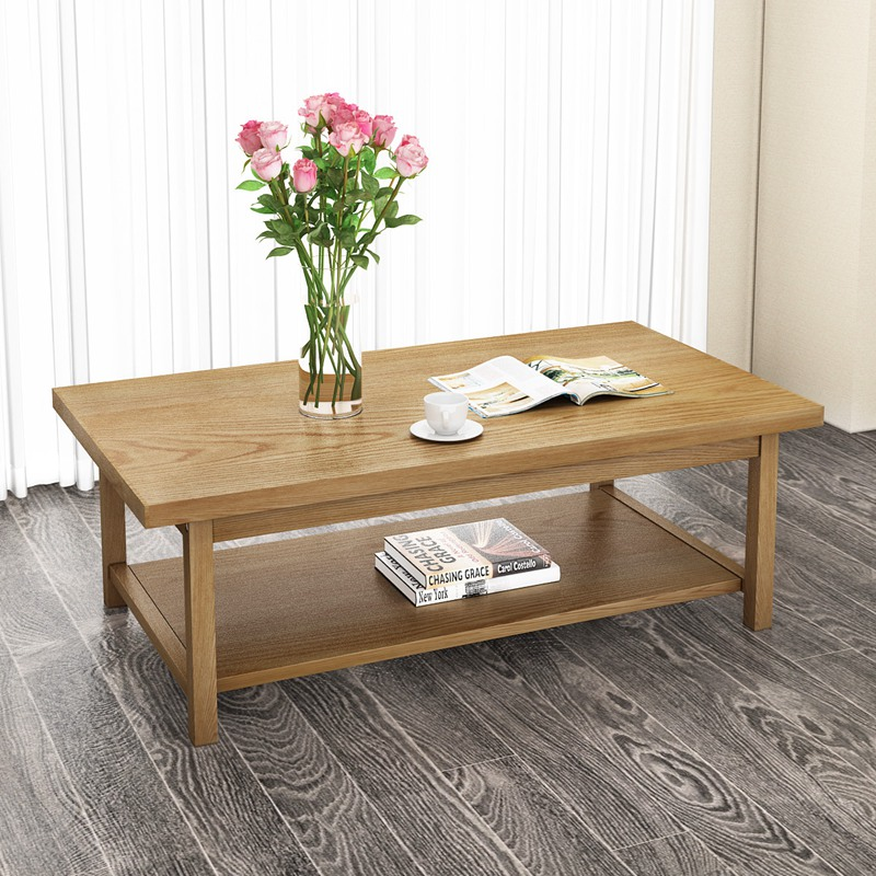 2018 New Product Classic Furniture Wood Solid Oak Coffee Table Desk Big Size with Shelf Dropshipping