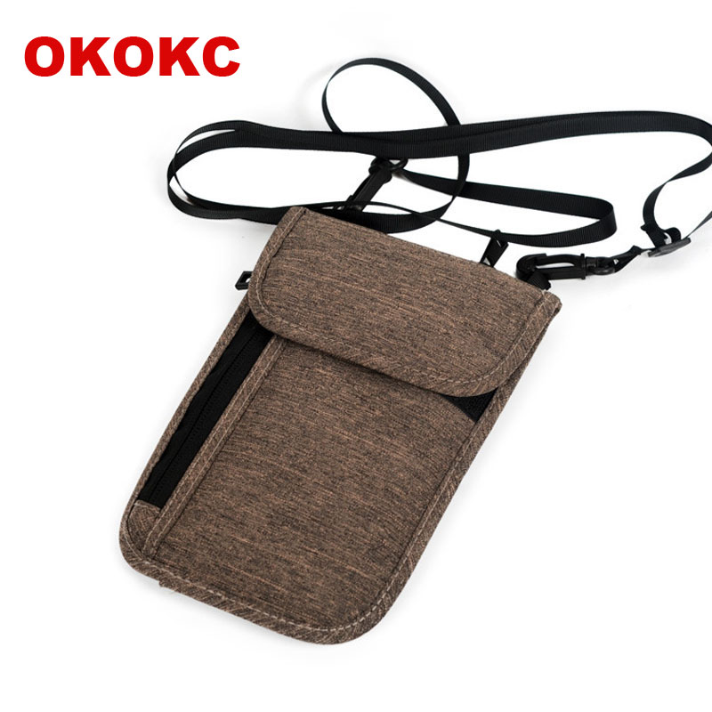 OKOKC Polyester Waterproof passport Bag Passport Protective Cover Document Receipt Package Hanging Neck Travel Accessories