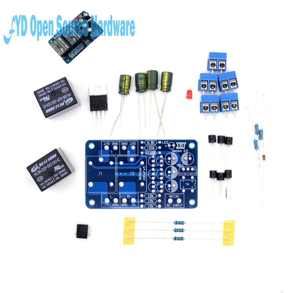 Speaker amplifier board protection circuit double relay protector boot delay and DC detection DIY KITSpeaker amplifier board protection circuit double relay protector boot delay and DC detection DIY KIT
