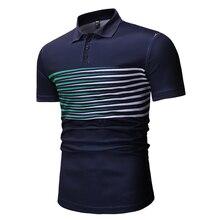 2019T-Shirt Men's Short Sleeve Lapel Colorblock Stripe Design Slim Comfortable Cotton T-Shirt Men's Business