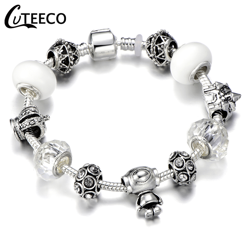 CUTEECO 925 Fashion Silver Charms Bracelet Bangle For Women Crystal Flower Fairy Bead Fit Brand Bracelets Jewelry Pulseras Mujer 34