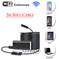 HD 720P 8mm 5M Wireless Wifi Android iOS Endoscope Camera Waterproof Soft Cable Inspection Borescope Camera For Car Repair
