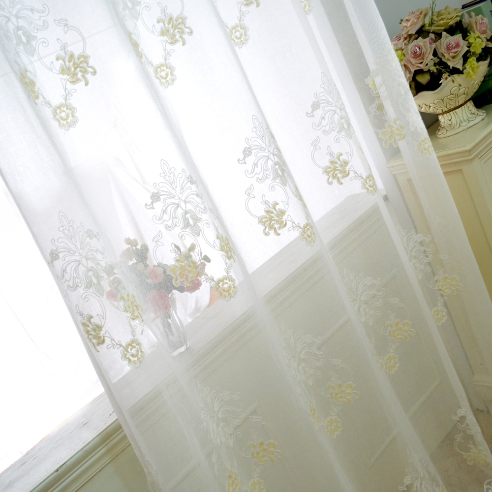 White Embroidered Sheer Curtains Towel Embroidery Gauze