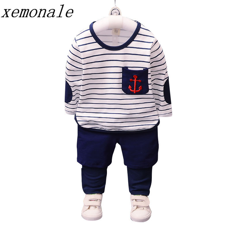 2017 Autumn Baby Boys Clothes Sets Embroidery Anchor Pattern T Shirt Plaid Pants Infant Casual Style Children Kids Cotton Suits