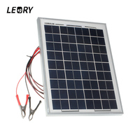 LEORY 18V 10W Solar Power Polycrystalline Solar Cells With 300cm Cable Crocodile Clips Charger For 12V Battery Car Automobile