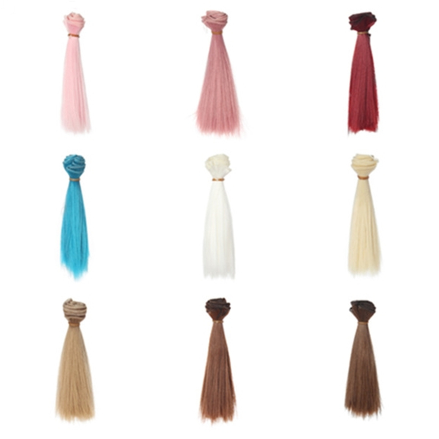 1 Pc 15*100cm Doll Accessories Straight Synthetic Fiber Wig Hair For Handmade Cloth High-temperature Wire Diy Texitle(China)