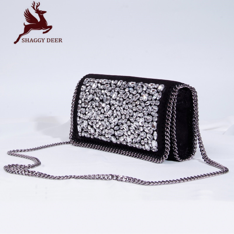 2017 Luxury NEW Shaggy Deer Brand Import Quality Acrylic Rhinestones Small Flap Bag Crossbody Stella  Chain Bag mini gray shaggy deer pvc quilted chain bag with cover real picture
