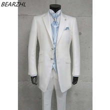 tuxedo white groom suits long tail for wedding dress 3 piece suits men suit high quality custom made suit 2017