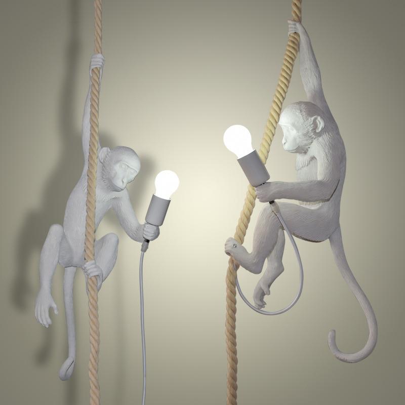 Moderne Creatieve Hars Witte Aap Lamp Loft Vintage Hennep Touw Hanger Licht voor Thuis Bar Cafe Retro Opknoping hanglamp - 4