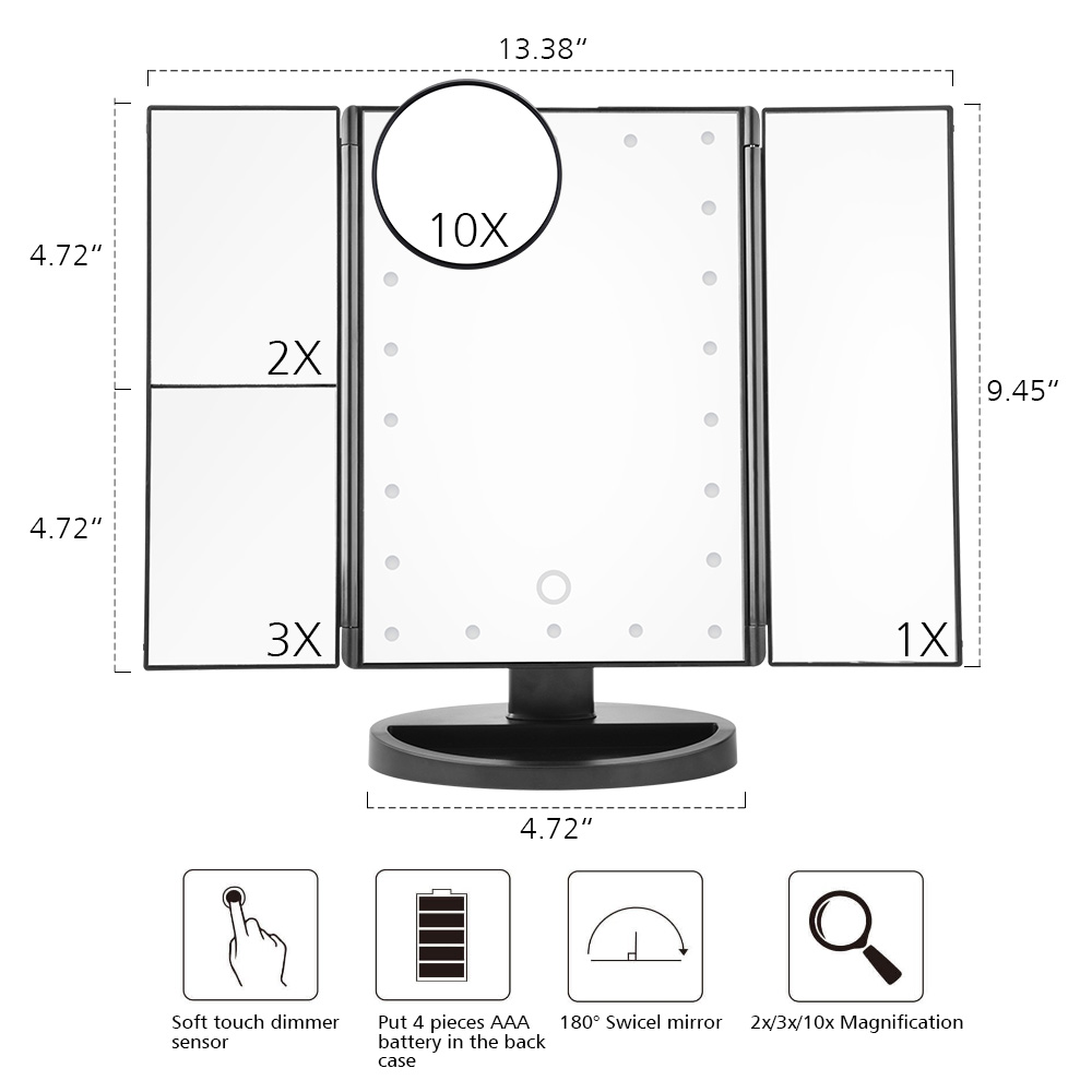 LED Touch Screen 22 Light Makeup Mirror Table Desktop Makeup 1X/2X/3X/10X Magnifying Mirrors Vanity 3 Folding Adjustable Mirror 1