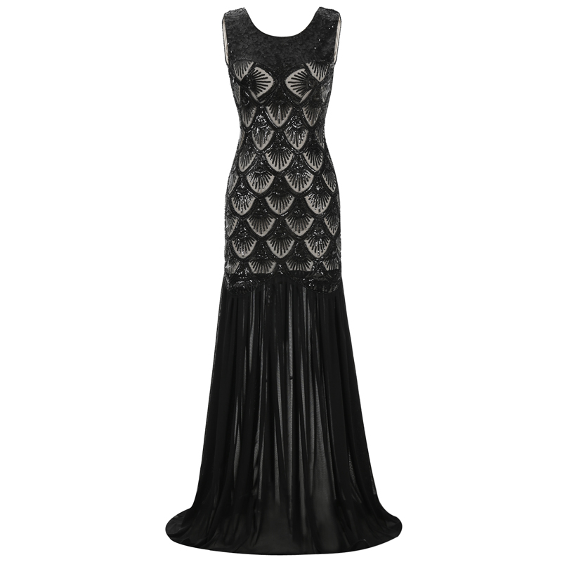 Wedtrend 1920s Long Sequins Gatsby Mermaid V-Back Vintage Women Dresses Sparkling Cheap Free Shipping Club Dresses