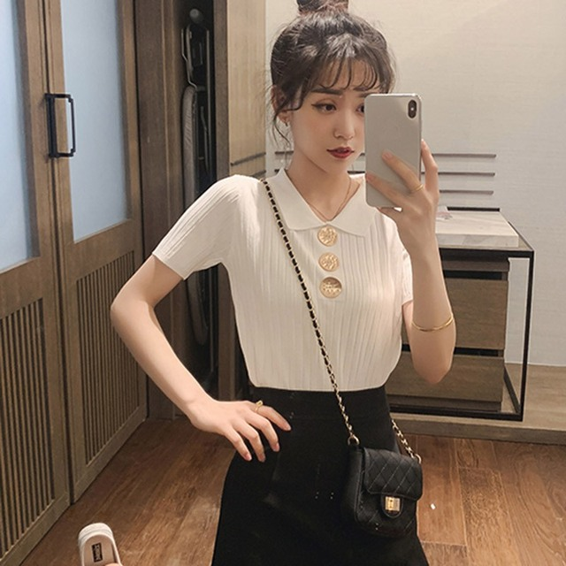 Women Korean Turn-down Collar Short Sleeve Summer Tshirt Fashion Solid Casual Knitted Tops Lady Buttons Top Tees 2019 New