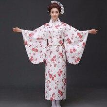 White Japanese Women Vintage Original Yukata Traditional Kimono With Obi Classic Evening Party Dress One Size