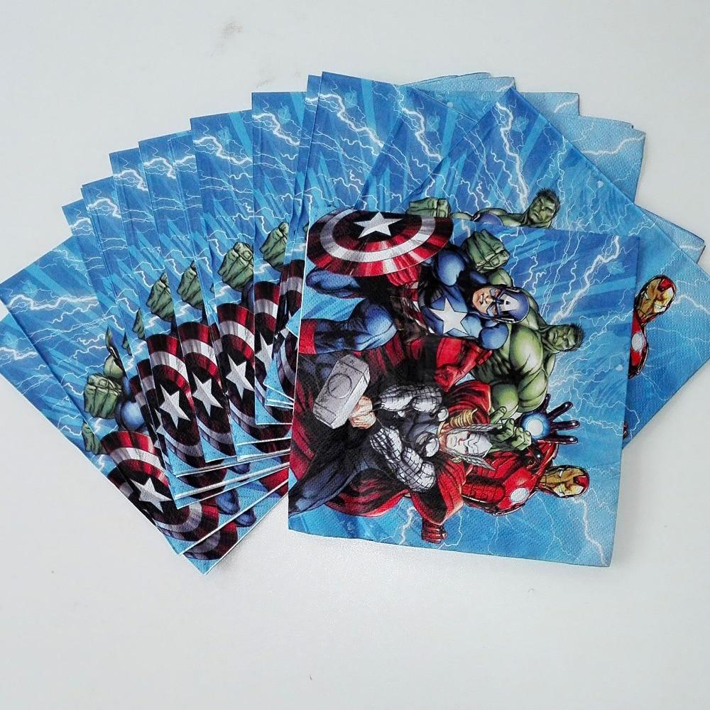 20 unid lindo cartoon avengers fuentes del partido servilleta de papel decoració