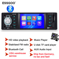 Essgoo 3.9 Radio Car Stereo Mp3 Player 1 Din Supports Bluetooth Hands Free Multimidia USB Aux Audio Rear View Camera Optional