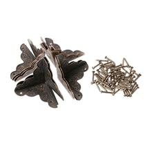 OOTDTY 10 шт. антикварная шкатулка для украшений угловая ножка Деревянный чехол Угловой протектор бронзовый тон