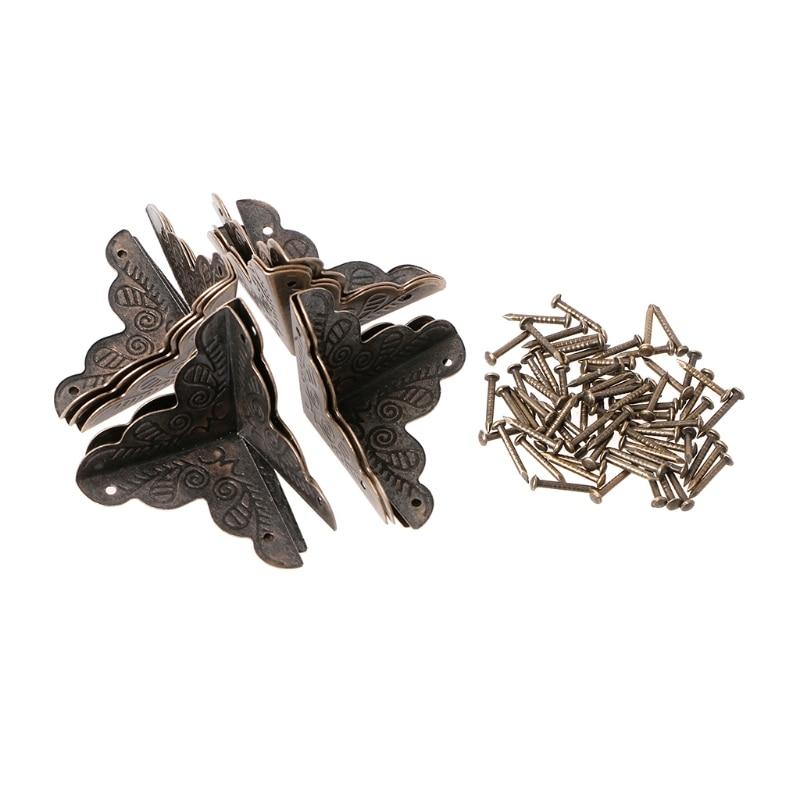 OOTDTY 10 Pcs Antique Jewelry Box Corner Foot Wooden Case Corner Protector Bronze Tone