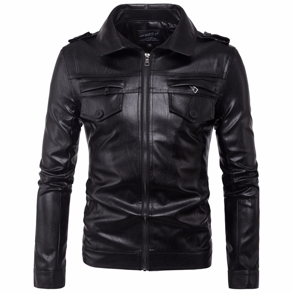 2017 Russian Autumn Winter Men Leather Jacket Coat Garment Business Casual Warm Motorcylce Leather Jacket PU Coat Big size M-5XL