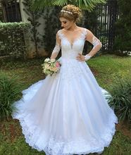 Vestido de Noiva Scoop Long Sleeves Wedding Dress Sequined Tulle with Bead Lace Appliques Robe de mariee 2018 Bride Dress Bodas bodas de sangre blood wedding spanish edition