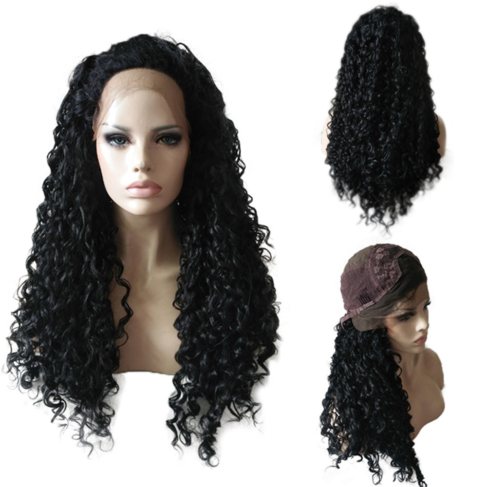 Fashion Black Long Curly Lace Front Full Wig Brazilian Human Hair Wave Wig Synthetic Wig 0910 fashion long fluffy curly side parting mixed color women s synthetic hair wig