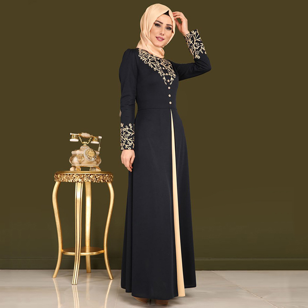 Muslim Dress Women Elegant Gold Stamping Printing Abaya Casual Long Sleeve