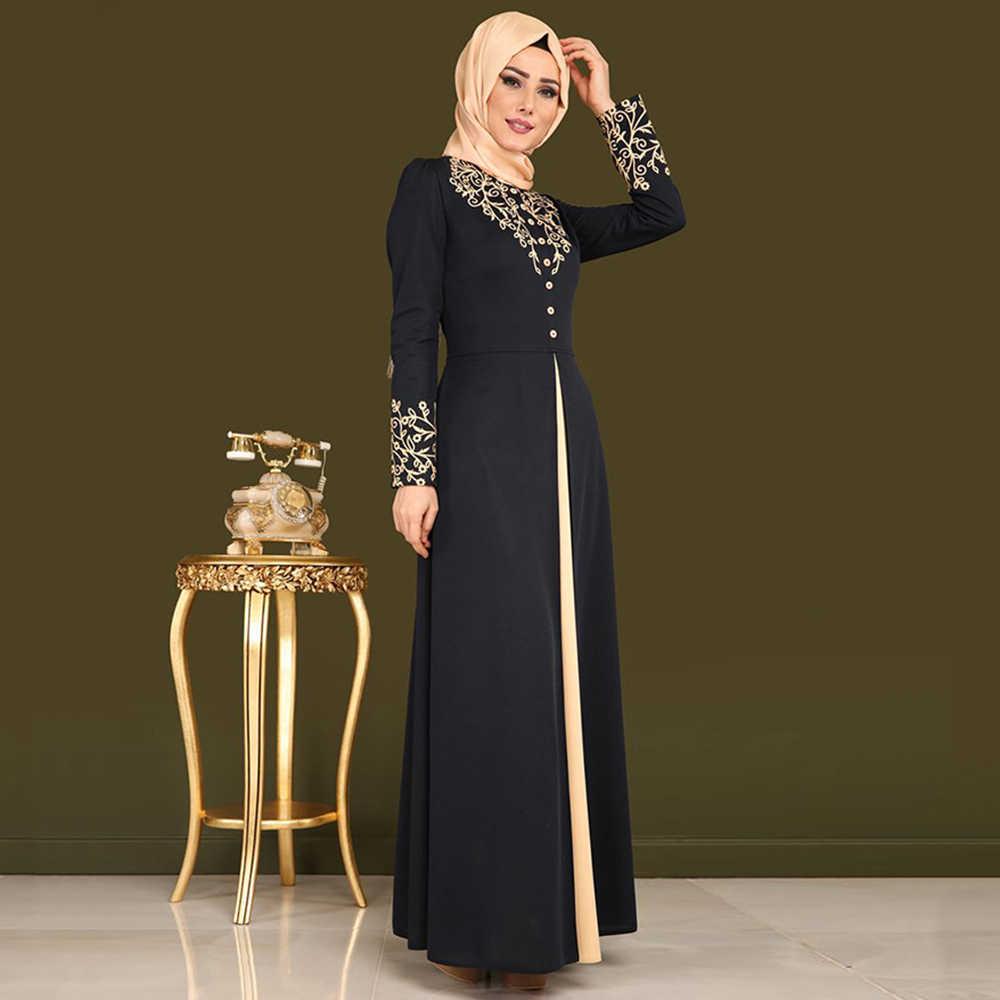 3b777e28490b ... Muslim Dress Women Elegant Gold Stamping Printing Dubai Abaya Dresses  Casual Long Sleeve Kaftan Maxi Dress ...