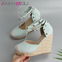 ANNYMOLI Sandals Women Rivets Platform Wedges High Heels Espadrille Shoes Summer Sexy Bohemia Ankle Strap Sandals Size 34 43