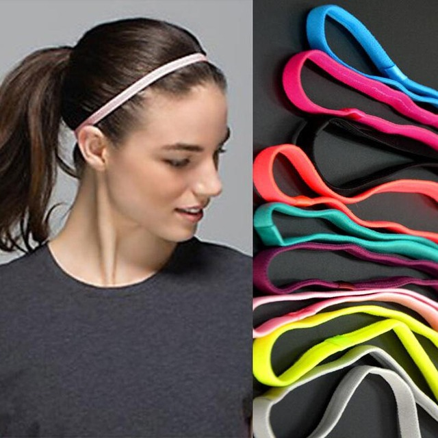 Candy color women Sports Elastic Headband Running Fitness night Yoga  Anti-slip Silicone Rubber Hair Bands women wearing db7b21db002