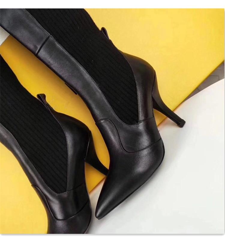 Altos Gilrs De rojo Botas Rodilla La Rojo Punta Slip 2018 on Negro Tacones Remiendo Zapatos Tejer Mujer Sexy Femenina Manera Sobre En U6qwvF