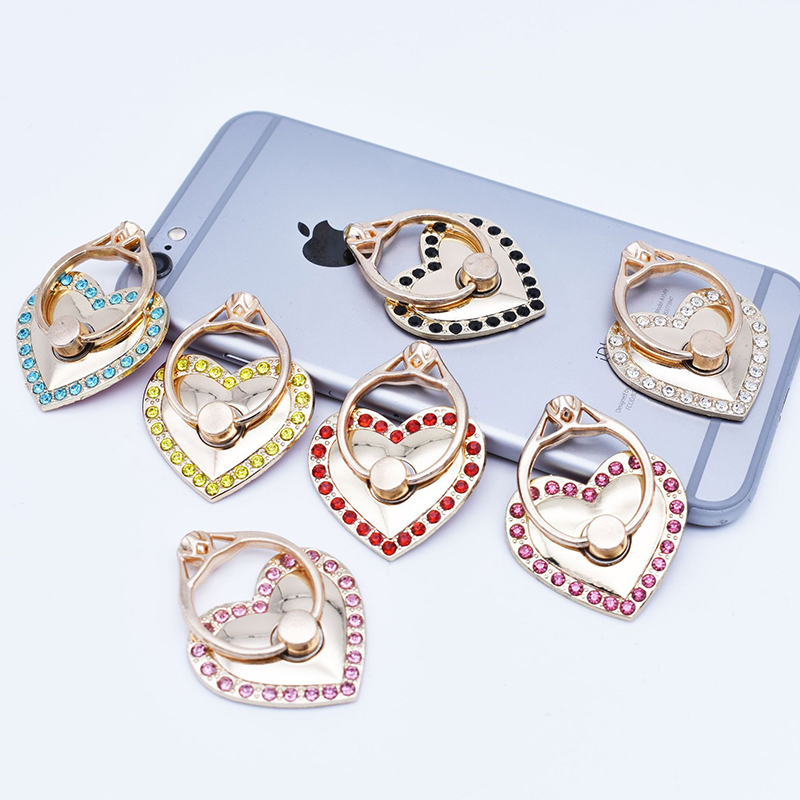 SIANCS Fashional Diamond Phone Holder love type Finger Ring Stand Rotatable Universal Support Bracket For iPhone Xiaomi Samsung