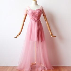 Image 1 - ציפוי פנימי אדום שעועית ורוד שושבינה שמלות אישה שמלות למסיבה וחתונה מקסי שמלה