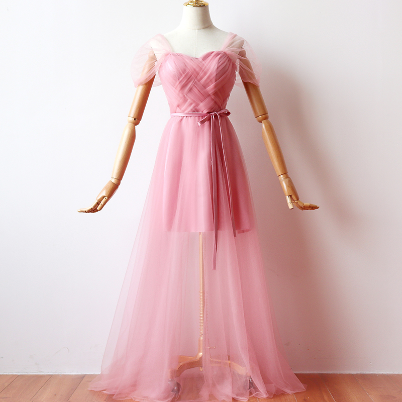 Inner Lining  Red Bean Pink Bridesmaid Dresses Woman for Party and Wedding Maxi Dress