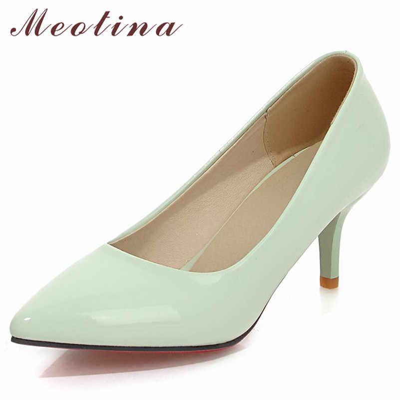 Meotina Ince Yüksek Topuklu Ayakkabılar Kadınlar parti ayakkabıları Bahar Pompaları Sivri Burun PU Patent deri ayakkabı Beyaz Sarı Artı Boyutu 10 42 43
