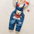 Roupa do bebê do outono estilo Coreano denim calças meninos lindo macacão Caráter moda macacões botão voar calças jardineiras