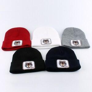 Image 4 - Yeni kurt hayvan bere erkekler sıcak örme kışlık şapkalar kadınlar için Gorra Hip hop Skullies Bonnet Unisex kap Dropshipping