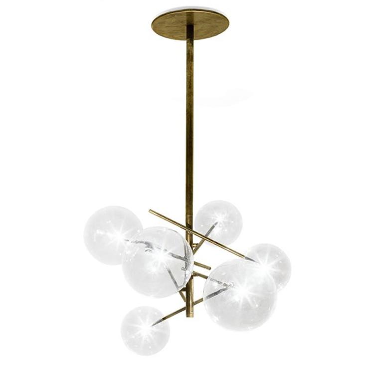 Moderne minimalistische Roterende Plafond Verlichting Led Lamp Ronde Glazen Bal Creatieve Opknoping lichten ijzer Led G4 lamp Indoor Home Bar goud - 4