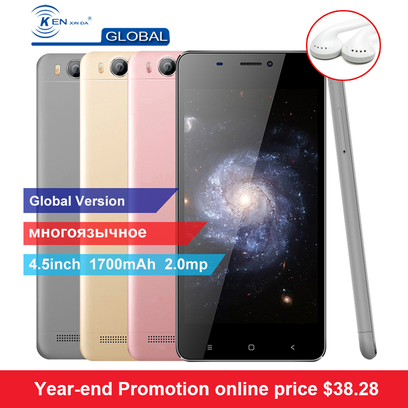 Original Kenxinda V6 4.5 Inch 1700mAH 1G RAM 8G ROM Android Smartphone 3G Quad Core Dual SIM Cards Mobile Cell Phones +Earphone