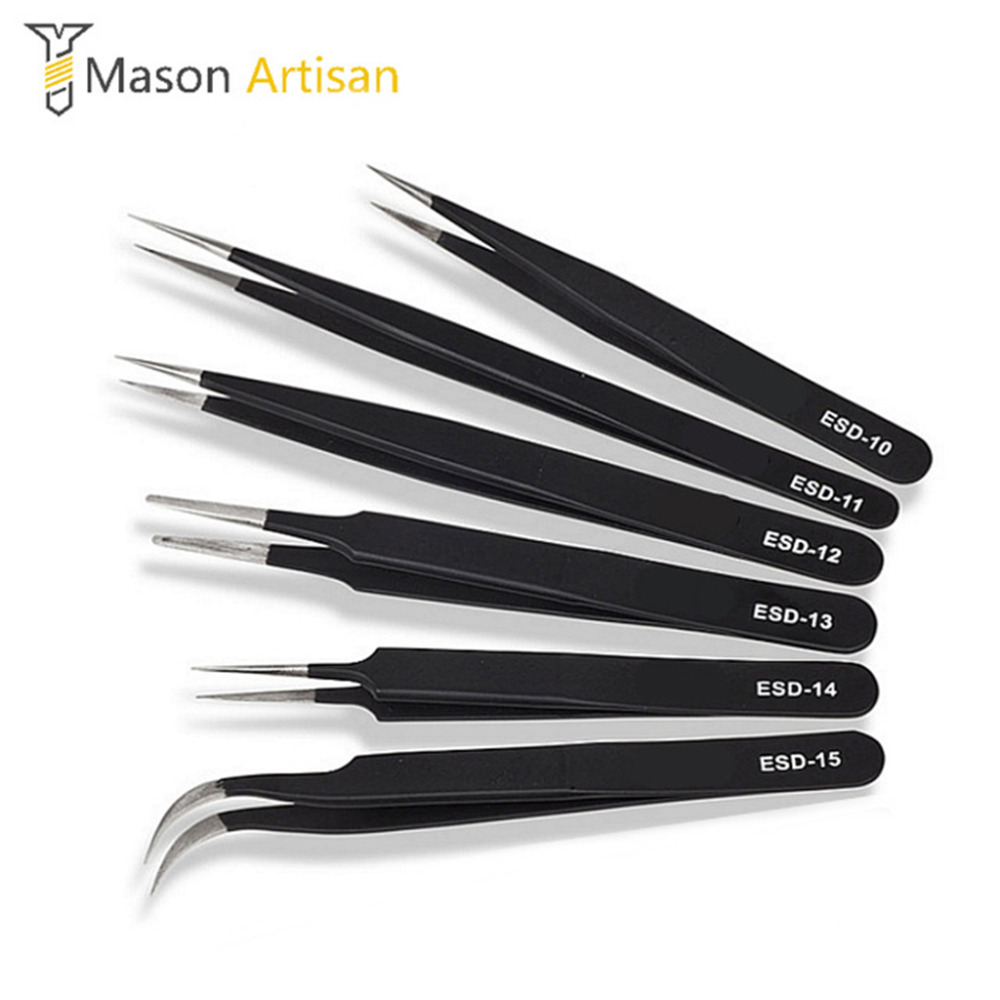 6Pcs Tweezers ESD 10-15 High-elastic Anti-static Stainless Steel Soldering Tweezers Hand Tool Set for Soldering Station Tool Kit ...
