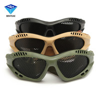 Riding Hunting Tactical CS Exp Losion Proof Swat Safety Net Outdoor Goggle Metal Mesh Eye Glasses