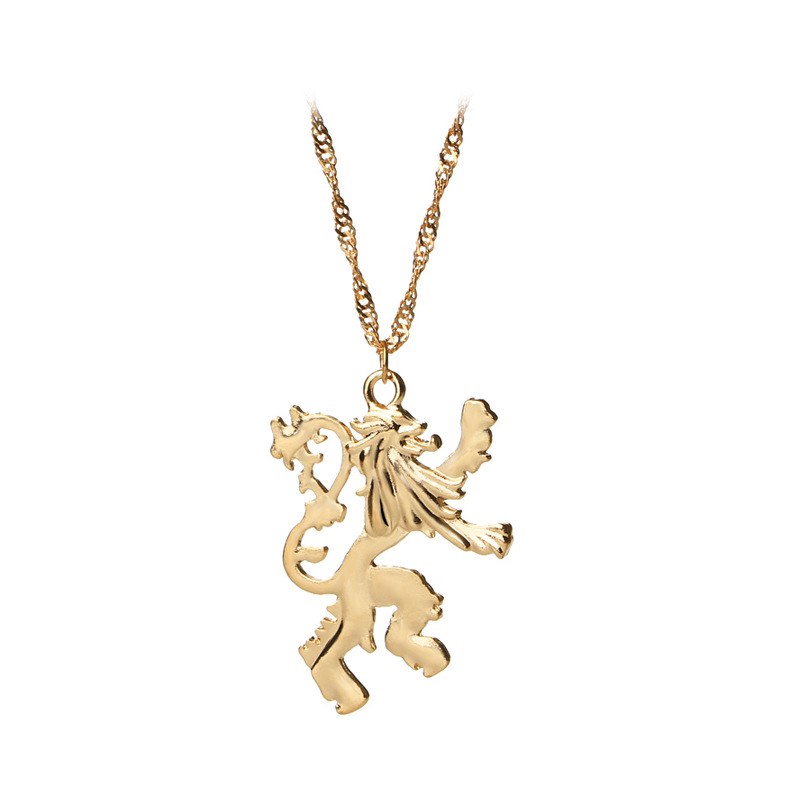 game of thrones necklace vintage cersei lannister hourse gold lion badge pendant song of ice and fire wholesale