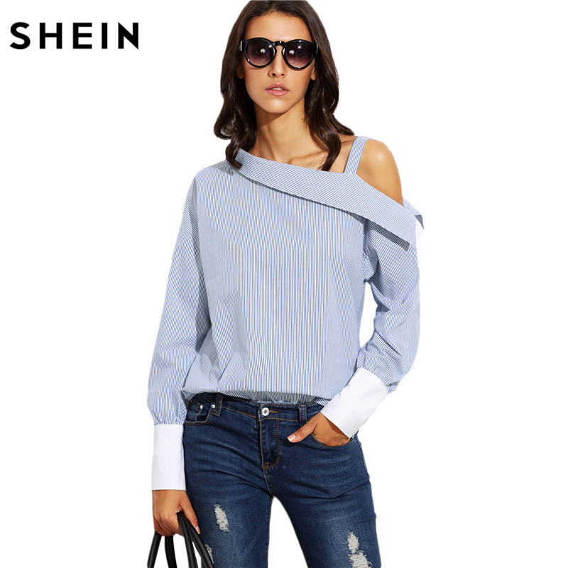 SHEIN Womens Tops Fashion Autumn Ladies Blue Striped Fold Over Asymmetric Shoulder Long Sleeve Contrast Cuff Blouse(China)
